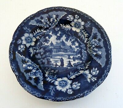 "Tiny Transferware Cup Plate  Flow Blue 4"" Cup Plate  Fantasy Indian Landscape"