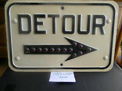 Vintage 1950'S Jeweled Arrow  Detour  Construction Sign