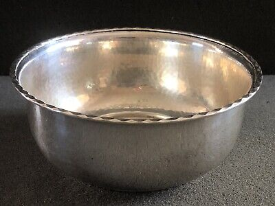 Antique Sterling Silver Danish Hammered Bowl By Christian Heise