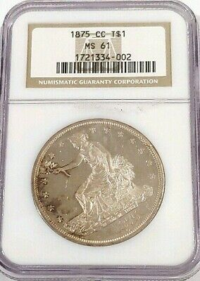 1875 cc Trade Silver Dollar NGC MS 61