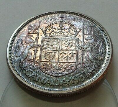 CANADA SILVER 50 CENTS HALF DOLLAR Coin 1957 Toned GEM BU UNC From Prooflike Set