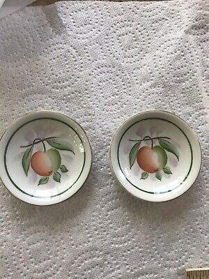 Vtg Set Of 2 Hand Painted Butter Pats By Weisley China
