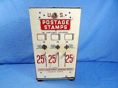 Vintage U.S. United States Postage Stamp Vending Machine Dispenser USPS No Key
