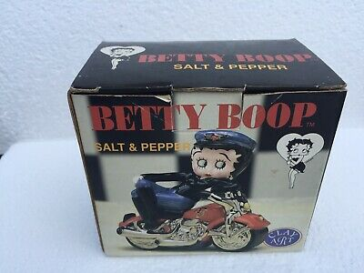 Betty Boop Motorcycle Salt And Pepper Shakers Clay Art 2000