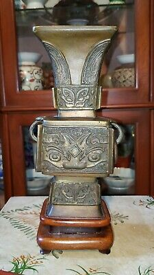 Antique Chinese Bronze Vase Gu Vessel  Tao-tie Decor 19th Century Qing Dynasty