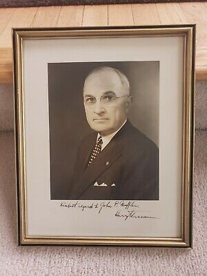 """President Harry Truman hand signed large 12"""" x 15""""  photo as President"""