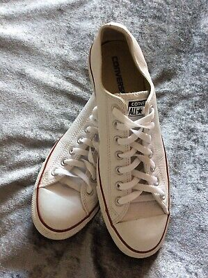 Converse All-Star Men's Size 10 White Leather Pumps Great Condition