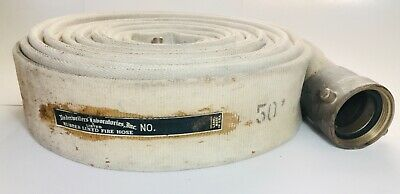 "Vintage USA Made 50' 2 1/2"" Rubber Lined Firefighter Fire Hose w/ Brass Fittings"