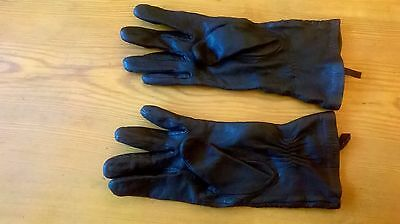 Faux leather Black gloves with ruched wrist feature  - small/medium
