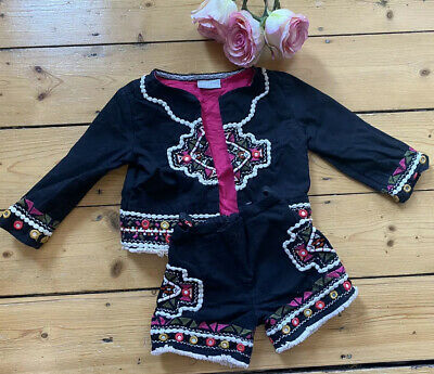 NEXT GIRLS TOP JACKET SHORTS black MATCHING Age 3 Years Co-ords EMBROIDERED