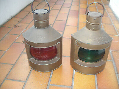 2 Alte Positionsleuchte Original, Backbord Steuerbord Petroleum Messing