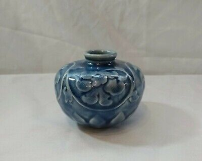 Beautiful Small Blue and White Celadon Art Pottery Vase! Signed!