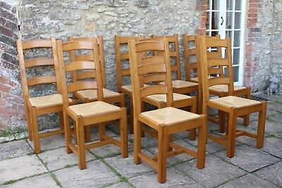 10 Lovely French Solid Oak Ladder Back Rush Seat Farmhouse Chairs