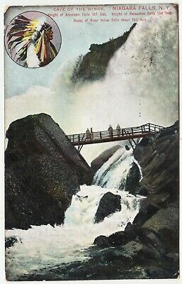 AMERICA Cave Of The Winds Niagara Falls - Red Indian - 1907 India used postcard