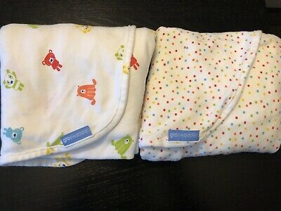 2 X GRO COMPANY SWADDLE Blankets Baby Boy Girl Unisex 0-3 Months Birth To 14lb