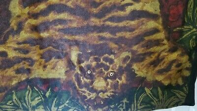 Excellent Antique CHASE Tiger with Eyes Mohair/Horsehair Buggy Carriage Blanket