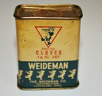 Vintage Spice Tin-WEIDEMAN, CLOVES, THE WEIDEMAN CO. CLEVELAND, OH. TIN IS 23/4""