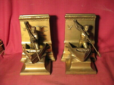 Vintage New Bedford Whalemen Bookends By Jennings Brothers 8139