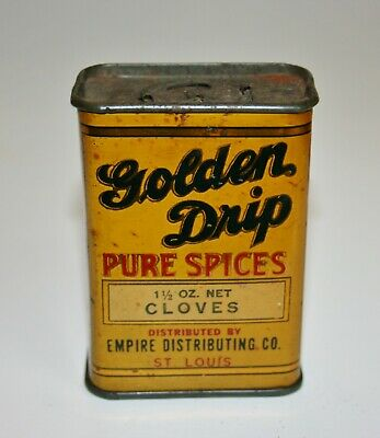 "Vintage Spice Tin-GOLDEN DRIP, CLOVES, EMPIRE DIST. CO. ST LOUIS, MO,Tin 3"" tall"