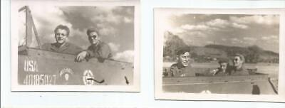 2 Original WW2 Photos - 36th Inf Div. Soldiers in Armored Vehicle - 268th Evac.