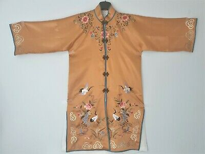 Old Vintage Chinese Silk Kimono Hand Embroidered Size S