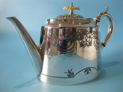 Very Nice Antique Silver Plated Hand-Engraved Victorian Tapered Oval Teapot
