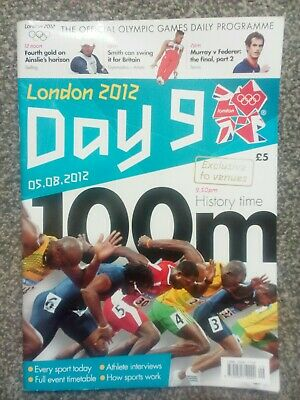 London 2012 official Daily Programme Day 9 Athletics 100m