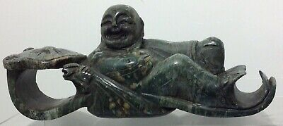 Rare Heavy Hand Carved Jade Sitting Laughing Buddha with Wealth Bag on Sleigh