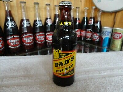 Dad's Junior Root Beer 10 Oz Soda Bottle Quincy, Ill. Amber Glass Acl Bottle