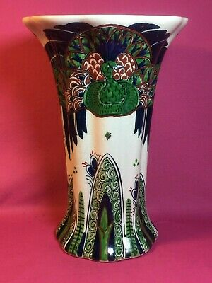 Antique Leon Senf Art Deco Art Nouveau Dutch Porceleyne Fles Royal Delft Vase