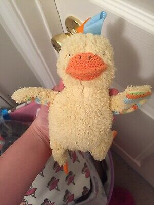 "5"" Maison Chic Duck Plush Traditional Infant Collection Lovey Teether Rattle"