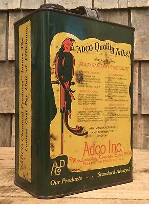 WOW Rare Vintage 1920s 2Gal Square ADCO Motor Oil Tin Can W Parrot Graphic