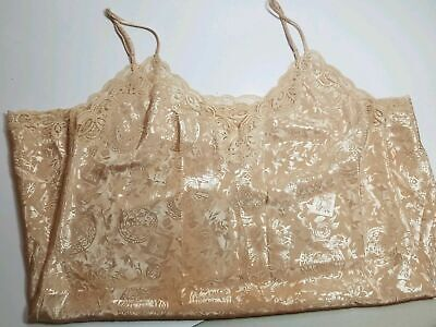 VTG Victoria Secret Lingerie Slip Gold Lace Size Large