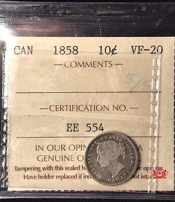 1858 Canada 10 Cents - ICCS VF20 - Old Certification EE 554