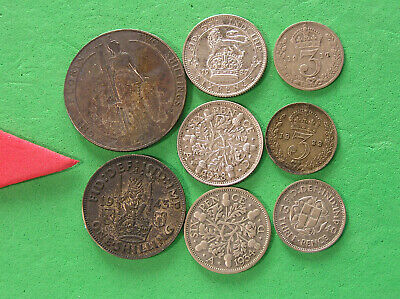 ENGLISH: 8 DIFF TYPE COINS: 1907 FLORIN, 1942 SHILLING, 3-6pence: 27,28,34, 3x3d