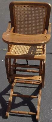 Antique Solid Wood Convertible High Chair/Rocker - Woven Cane Seat & Back - VGC