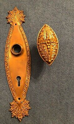 RARE Antique Single Bronze Marquise Door Knob and Backplate w/ Key Hole NORWALK