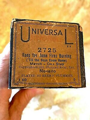 """Universal Player Piano Roll """"Keep the Home Fires Burning"""" No.2725 Good Condition"""