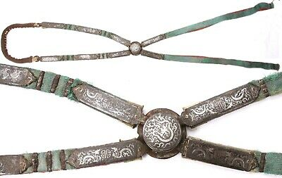 Rare Antique Tibetan Chinese Horse Crupper Iron Silver Dragons Tack Saddle Old