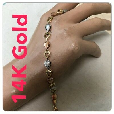 Real 14K Tricolor Gold Bracelet. 7.25 Inches