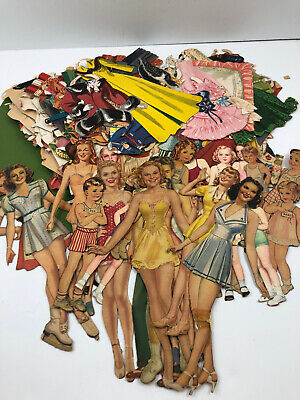 Vintage Paper Dolls HUGE Lot of 1940-1950's Clothes Accessories Oklahoma USED