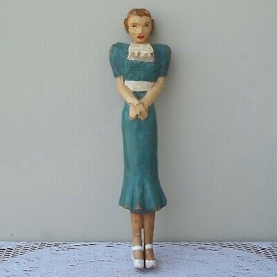 Vintage Hand-Carved Woman Lady Wood Figure Painted 1940s Fashion Style Folk Art