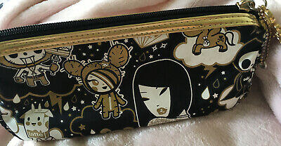 Tokidoki rare black gold cosmetic zipper pouch bag pink diamond lining