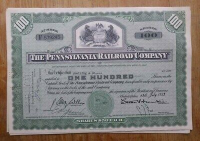 The Pennsylvania Railroad Company Stock Certificate from 1953 number 579245