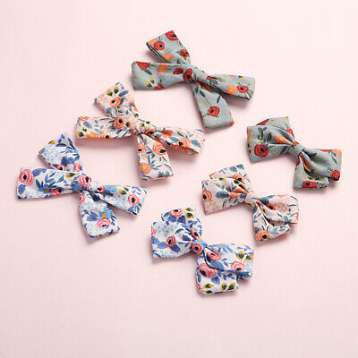 Children Baby Floral Printed Bowknot Barrette Hairpin Hair Clips Hair Ornaments