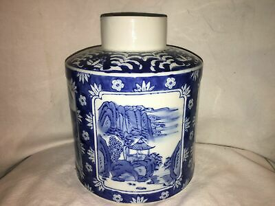 Beautiful Blue and White Porcelain Jar Asian Nature Village Scene with Flowers 9