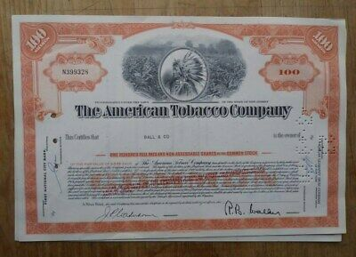 American Tobacco Company Stock Certificate from 1966