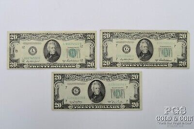 1950 1950-B 1950-B* Star $20 Federal Reserve Notes 3 US Currency Bills $60 18540
