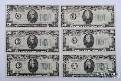 6 1934-A $20 Federal Reserve Notes US Currency CHICAGO Green Seal $120 18546