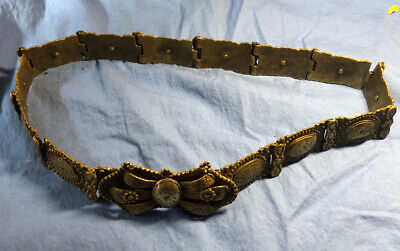 Antique Ottoman Empire Islamic Turkish Brass Buckle Belt 30""